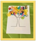 Imagination Tree-tree with colorful squares of tissue paper glued as the leaves