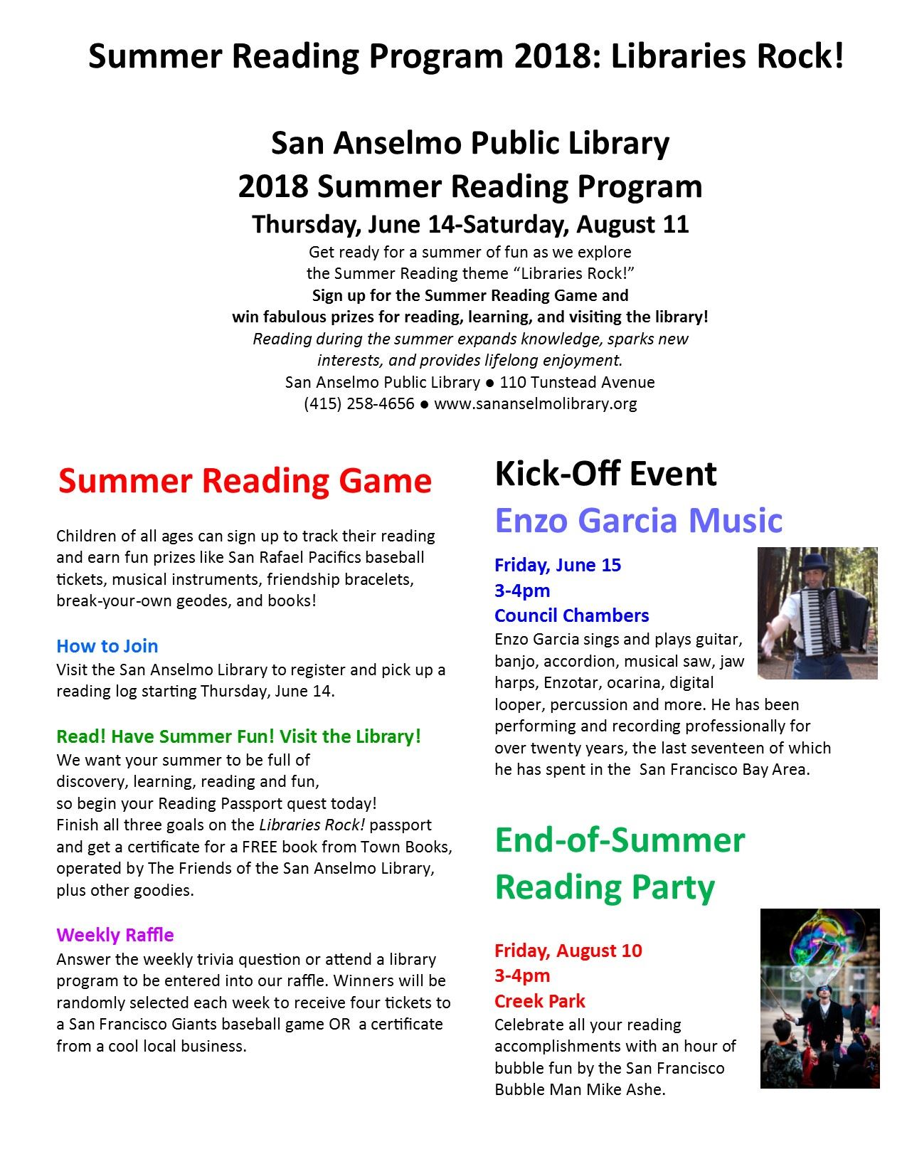ChildrenSummer Events Calendar 2018 Page 2