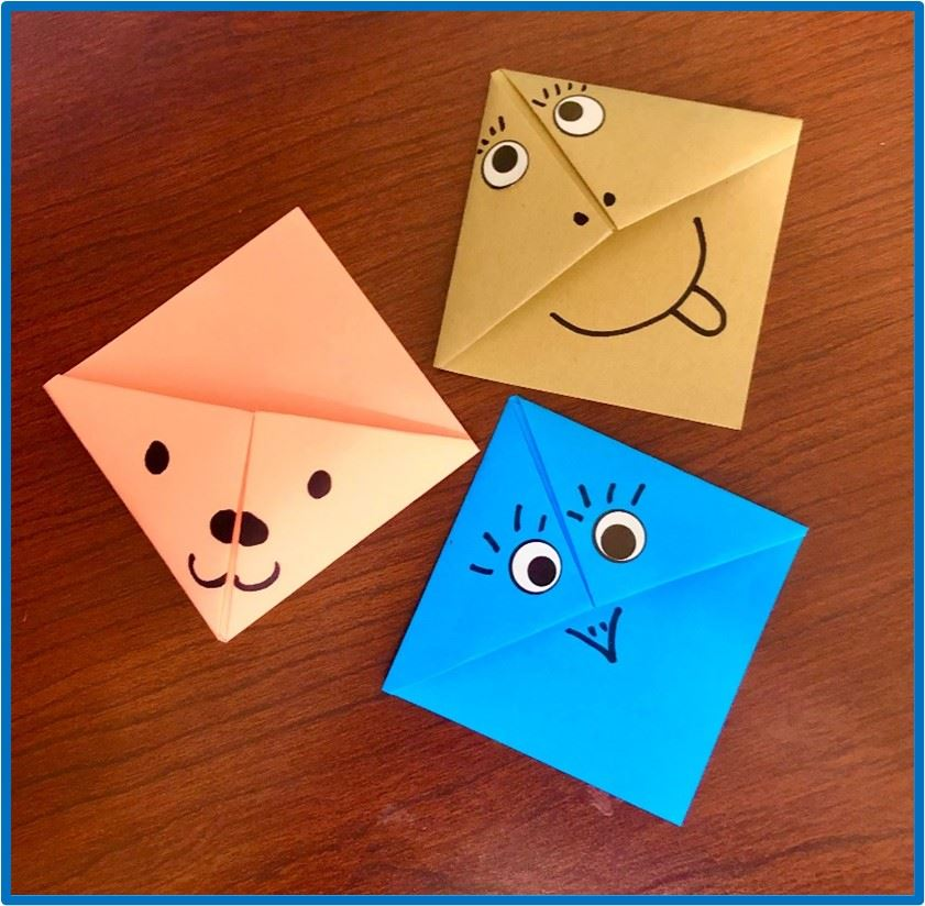 Origami Silly Face bookmarks